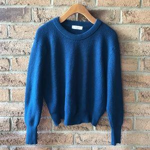 ELODIE | Teal blue batwing crop fall sweater